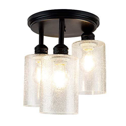 DLLT Semi Flush Mount Ceiling Light Farmhouse Clear Glass Chandelier Ceiling Light Fixture With 3 Light For Dining Room Hallway Kitchen Bedroom Entryway E26 Base Black 0