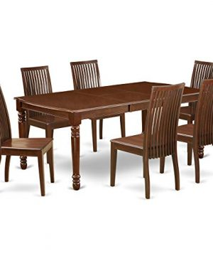 DOIP7 MAH W 7Pc Rectangle 6078 Dining Table With 18 In Self Storing Butterfly Leaf And Six Wood Seat Kitchen Chairs 0 300x360