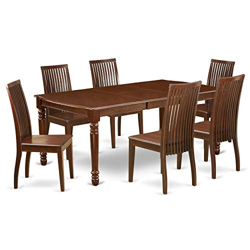 DOIP7 MAH W 7Pc Rectangle 6078 Dining Table With 18 In Self Storing Butterfly Leaf And Six Wood Seat Kitchen Chairs 0