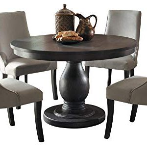 Dakins 5PC Dining Set Round Table 4 Chair In Rustic Brown 0 300x322