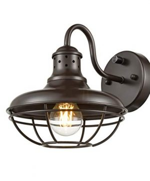 Dazhuan Industrial Plug In Wall Sconce Light With OnOff Switch Farmhouse Cage Gooseneck Wall Sconce Oil Rubbed Bronze 0 300x360