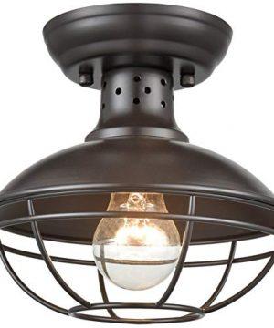 Dazhuan Industrial Vintage Metal Cage Pendant Lighting Semi Flush Mount Ceiling Light Lamp Fixture ORB Hanging Chandelier 0 300x360