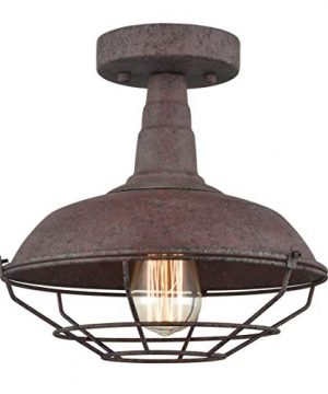 Dazhuan Rustic Semi Flush Ceiling Lights Metal Barn Wire Cage In Rust Finish For Foyer Kitchen Mudroom 1 Light 0 300x360
