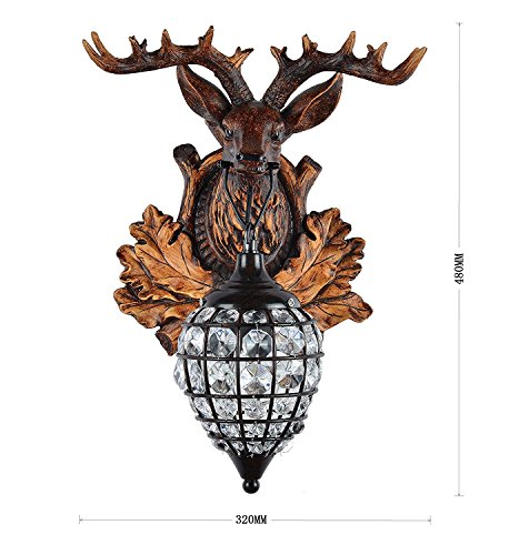Deer Heads Antlers Vintage Style Resin Wall Lamp 1 Light Rural Countryside Antler Wall LampLiving RoomBarCafe 0 0
