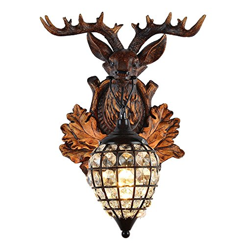 Deer Heads Antlers Vintage Style Resin Wall Lamp 1 Light Rural Countryside Antler Wall LampLiving RoomBarCafe 0 1