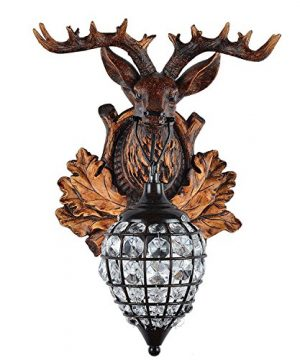 Deer Heads Antlers Vintage Style Resin Wall Lamp 1 Light Rural Countryside Antler Wall LampLiving RoomBarCafe 0 2 300x360