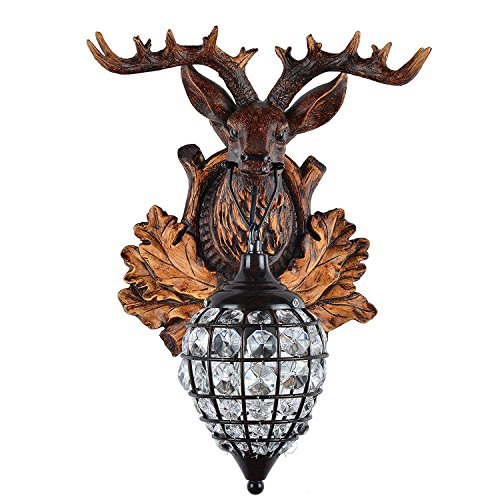Deer Heads Antlers Vintage Style Resin Wall Lamp 1 Light Rural Countryside Antler Wall LampLiving RoomBarCafe 0 2