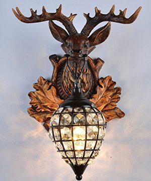 Deer Heads Antlers Vintage Style Resin Wall Lamp 1 Light Rural Countryside Antler Wall LampLiving RoomBarCafe 0 300x360