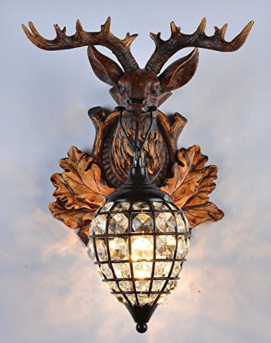 Deer Heads Antlers Vintage Style Resin Wall Lamp 1 Light Rural Countryside Antler Wall LampLiving RoomBarCafe 0