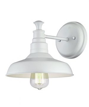 Design House 579649 Kimball Industrial Farmhouse 1 Indoor Wall Light With Metal Shade For Hallway Bathroom Kitchen Foyer Antique White 0 300x360