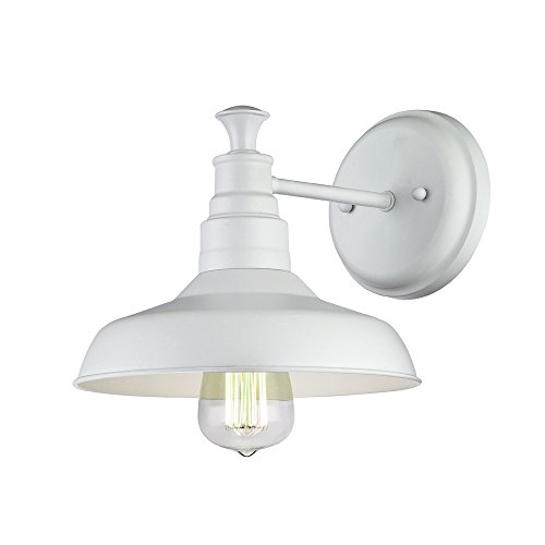 Design House 579649 Kimball Industrial Farmhouse 1 Indoor Wall Light With Metal Shade For Hallway Bathroom Kitchen Foyer Antique White 0