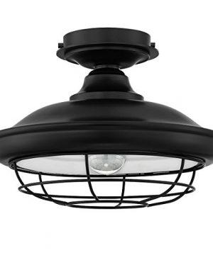 Designers Impressions Charleston Matte Black Semi Flush Mount Ceiling Light Fixture 10002 0 300x360