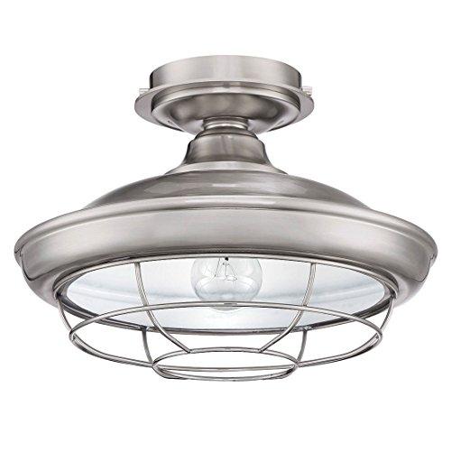 Designers Impressions Charleston Satin Nickel Semi Flush Mount Ceiling Light Fixture 10003 0