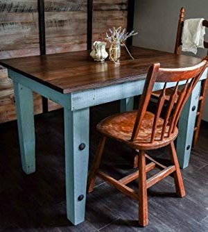 Dining Kitchen Nook Farmhouse Table Solid Wood Sugar Mtn Woodworks Distressed Provence Blue Dark Wood Work Desk Computer Desk 0 300x334
