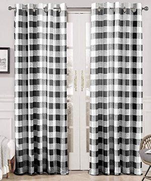 DriftAway Buffalo Checker Pattern Lined Thermal Insulated Blackout And Room Darkening Grommet Window Curtains Printed Plaid 2 Layer Set Of 2 Panels 52 Inch By 84 Inch Black 0 300x360