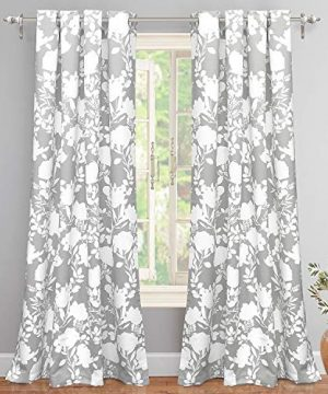 DriftAway Floral Delight Botanic Pattern Room Darkening Thermal Insulated Grommet Unlined Window Curtains Set Of 2 Panels Each 52 Inch By 84 Inch Gray 0 300x360