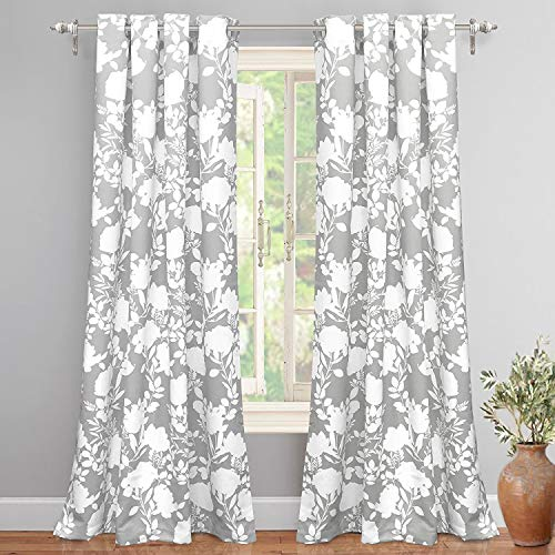 DriftAway Floral Delight Botanic Pattern Room Darkening Thermal Insulated Grommet Unlined Window Curtains Set Of 2 Panels Each 52 Inch By 84 Inch Gray 0