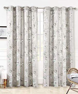 DriftAway Mackenzie Thermal Room Darkening Grommet Unlined Window Curtains Blossom Floral Pattern 2 Panels 50 Inch By 84 Inch Blue Gray 0 300x360