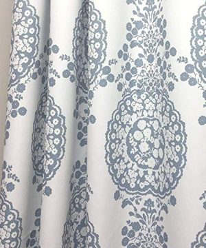 DriftAway Samantha Thermal Room Darkening Grommet Unlined Window Curtains Floral Damask Medallion Pattern 2 Panels Each 52 Inch By 84 Inch Blue 0 0 300x360