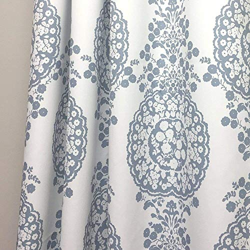 DriftAway Samantha Thermal Room Darkening Grommet Unlined Window Curtains Floral Damask Medallion Pattern 2 Panels Each 52 Inch By 84 Inch Blue 0 0