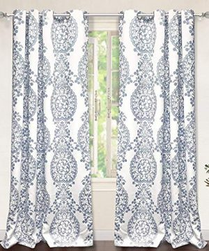 DriftAway Samantha Thermal Room Darkening Grommet Unlined Window Curtains Floral Damask Medallion Pattern 2 Panels Each 52 Inch By 84 Inch Blue 0 300x360