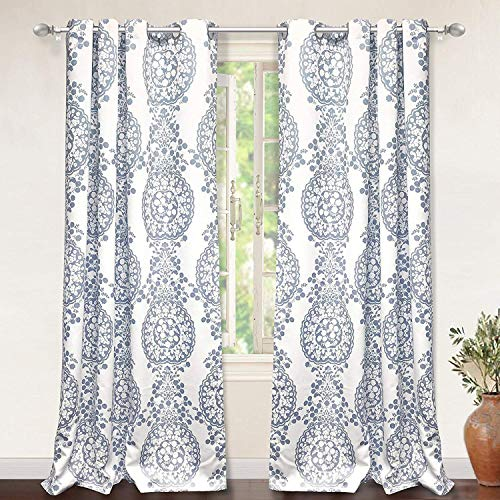 DriftAway Samantha Thermal Room Darkening Grommet Unlined Window Curtains Floral Damask Medallion Pattern 2 Panels Each 52 Inch By 84 Inch Blue 0