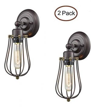 Ecopower Light Wire Cage Wall Sconce 2 Pack CLAXY Industrial Oil Rubbed Bronze Bulb Wall Light 0 300x360