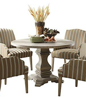 Edelbrock French Decor 5PC Round Dining Set Table 4 Chair In Rustic Weathered 0 300x341