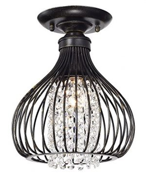 Edvivi 1 Light Antique Bronze Metal And Crystal Bead Bell Shade Semi Flush Mount Light Glam Lighting 0 300x360