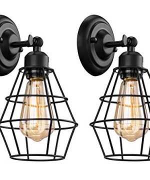 Elibbren Industrial Wall Sconce 2 Pack Vintage Wire Cage Wall Lighting Sconce Farmhouse Wall Lighting Fixture For Bedroom HeadboardGarage Porch 0 300x360