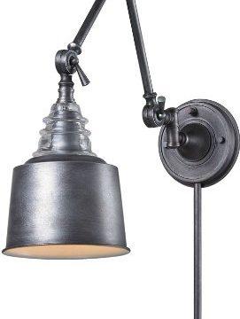 Elk 66825 1 7 By 18 Inch Insulator Glass 1 Light Swingarm Sconce Weathered Zinc Finish 0 271x360