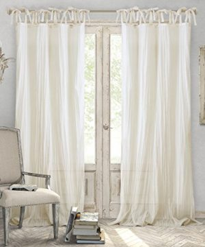 Elrene Home Fashions Crushed Semi Sheer Adjustable Tie Top Single Panel Window Curtain Drape 52 X 95 1 Ivory 0 300x360