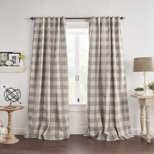 Elrene Home Fashions Grainger Buffalo Check Blackout Window Curtain Panel 52 X 84 1 Gray 0