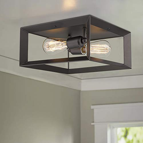 Emliviar 2 Light Ceiling Light 12 Flush Mount Ceiling Lighting Fixture Oil Rubbed Bronze Finish 3040 2 ORB 0 1