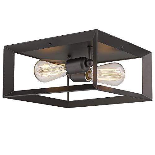Emliviar 2 Light Ceiling Light 12 Flush Mount Ceiling Lighting Fixture Oil Rubbed Bronze Finish 3040 2 ORB 0