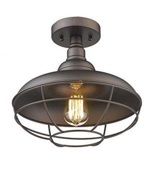 Emliviar Industrial Semi Flush Mounted Ceiling Light Fixture 12 Farmhouse Lighting Rustic Metal Cage Light Oil Rubbed Bronze 50007 SF 0 300x360