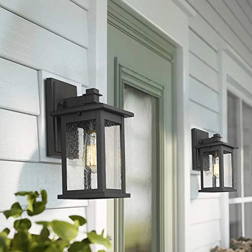 Emliviar Outdoor Wall Mount Lights 2 Pack 1 Light Exterior Sconces Lantern In Black Finish With Clear Seeded Glass Os Farmhouse Goals