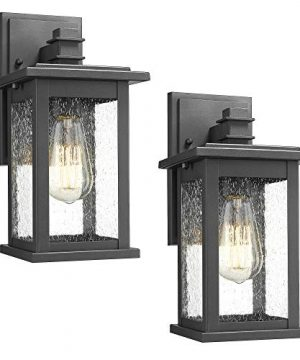 Emliviar Outdoor Wall Mount Lights 2 Pack 1 Light Exterior Sconces Lantern In Black Finish With Clear Seeded Glass OS 1803EW1 2PK 0 300x360