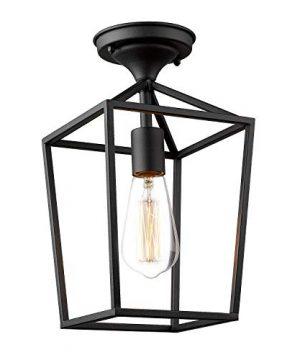 Emliviar Semi Flush Mount Ceiling Light 1 Light 13 Inch Height Ceiling Light Fixture In Black Finish 20065B1 F1 BK 0 300x360