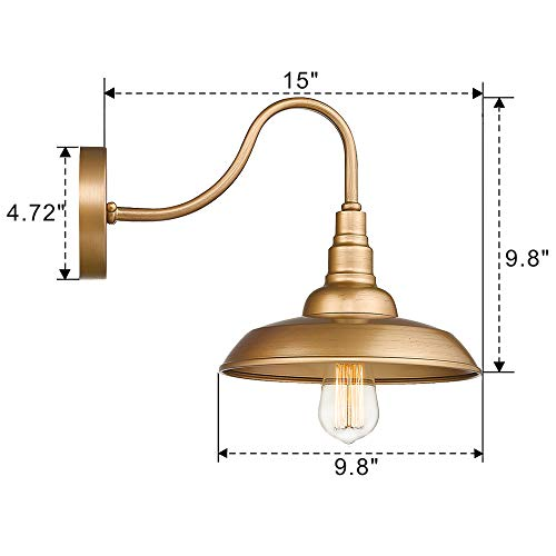 Emliviar Vintage Wall Lighting Fixture 10 Inch Barn Light For Living Room Bedroom Gold Finish 523 AG 0 5
