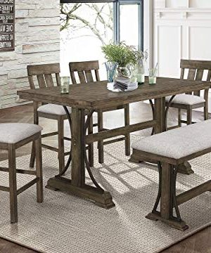 Esofastore Rustic Style Dining Set 6pcs Rectangle Counter Height Table W4 Chairs Bench 0 300x360