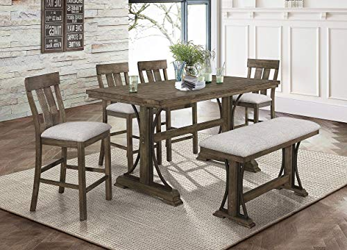 Esofastore Rustic Style Dining Set 6pcs Rectangle Counter Height Table W4 Chairs Bench 0