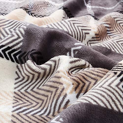 EverGrace Luxury Reversible Sherpa Plaid Throw Blanket Soft Cozy Plush Fuzzy Blanket With Extra Warm For Bed Couch Sofa Gift Beige 0 1