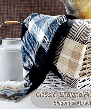 EverGrace Luxury Reversible Sherpa Plaid Throw Blanket Soft Cozy Plush Fuzzy Blanket With Extra Warm For Bed Couch Sofa Gift Beige 0 2 300x360