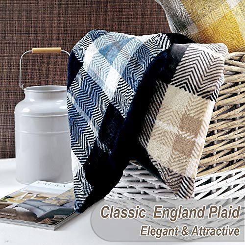 EverGrace Luxury Reversible Sherpa Plaid Throw Blanket Soft Cozy Plush Fuzzy Blanket With Extra Warm For Bed Couch Sofa Gift Beige 0 2