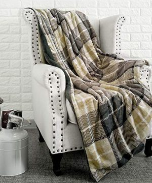 EverGrace Luxury Reversible Sherpa Plaid Throw Blanket Soft Cozy Plush Fuzzy Blanket With Extra Warm For Bed Couch Sofa Gift Beige 0 4 300x360