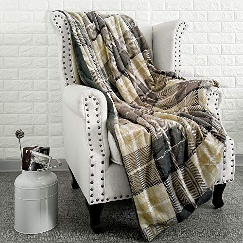 EverGrace Luxury Reversible Sherpa Plaid Throw Blanket Soft Cozy Plush Fuzzy Blanket With Extra Warm For Bed Couch Sofa Gift Beige 0 4