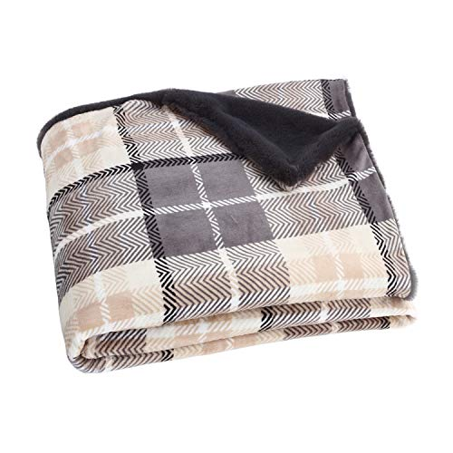 EverGrace Luxury Reversible Sherpa Plaid Throw Blanket Soft Cozy Plush Fuzzy Blanket With Extra Warm For Bed Couch Sofa Gift Beige 0