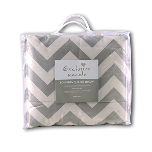 Exclusivo Mezcla Luxury Reversible Quilted Oversized Throw Blanket Soft Cozy And Large Chevron 60x70 0 5