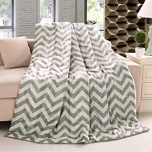 Exclusivo Mezcla Luxury Reversible Quilted Oversized Throw Blanket Soft Cozy And Large Chevron 60x70 0